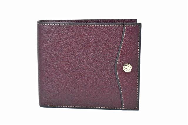 オックスフォード 二つ折り財布(小銭入れなし) バーガンディ GP10518 ゴールドファイル