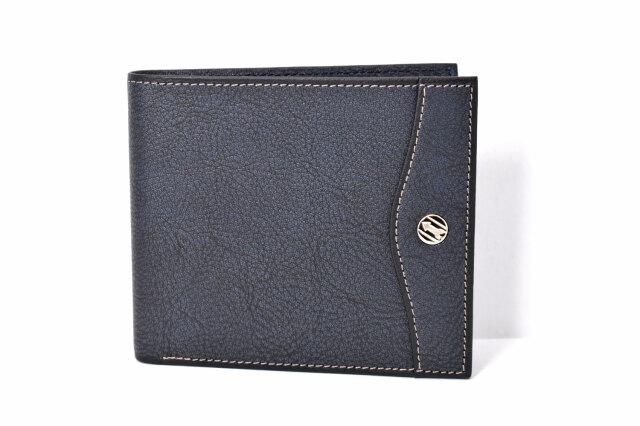 オックスフォード 二つ折り財布(小銭入れなし) 「ゴールドファイル」 GP10518 ネイビー 正面
