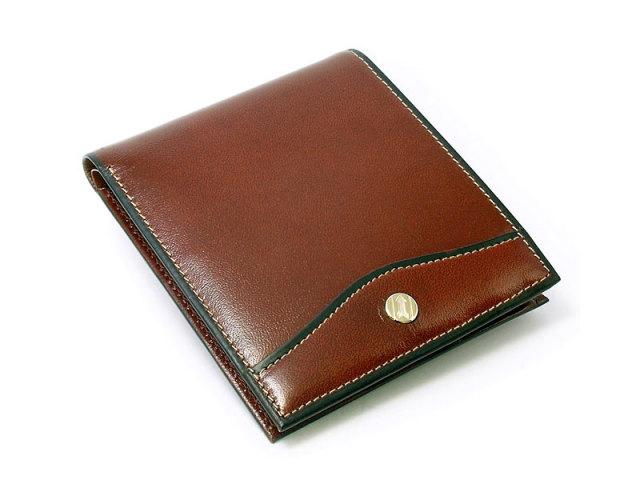 オックスフォード 二つ折り財布(小銭入れなし) 「ゴールドファイル」 GP10518 スコッチ 正面