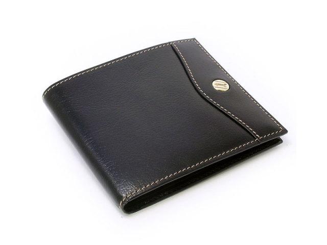 オックスフォード 二つ折り財布(小銭入れなし) コンパクト財布   「ゴールドファイル」 GP11410 ブラック 正面