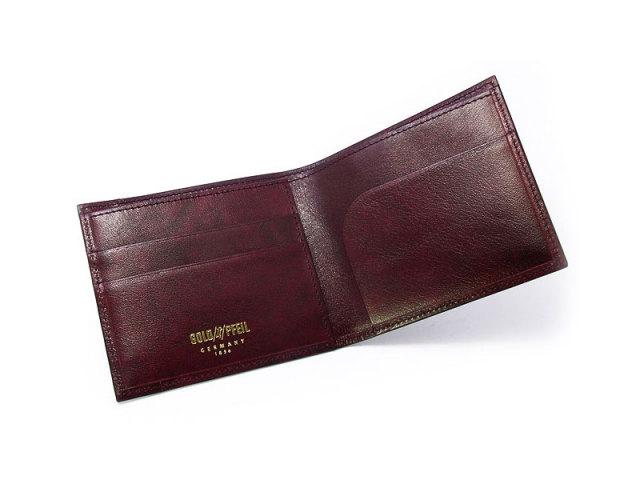 オックスフォード 二つ折り財布(小銭入れなし) コンパクト財布   「ゴールドファイル」 GP11410 バーガンディ 内作り