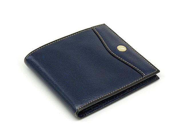 オックスフォード 二つ折り財布(小銭入れなし) コンパクト財布   「ゴールドファイル」 GP11410 ネイビー 正面