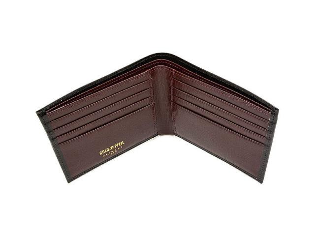 ヘリテージ 二つ折り財布(小銭入れなし) 「ゴールドファイル」 GP23219 ブラック 内作り