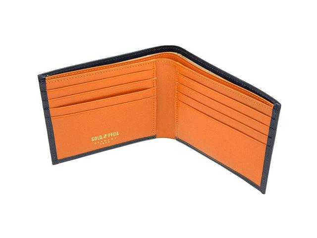 ヘリテージ 二つ折り財布(小銭入れなし) 「ゴールドファイル」 GP23219 オレンジ 内作り