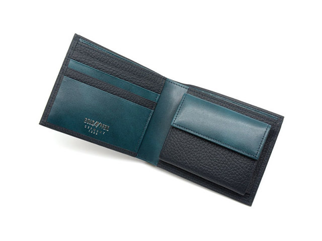 Superior(スペリオール) 二つ折り財布(小銭入れあり)  「ゴールドファイル」 GP24217 ネイビー 内作り