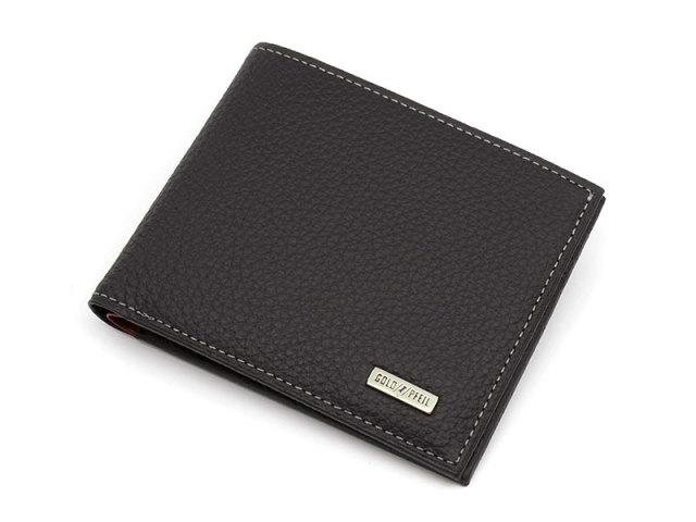 Superior(スペリオール) 二つ折り財布(小銭入れなし)  「ゴールドファイル」 GP24315 ブラック 正面