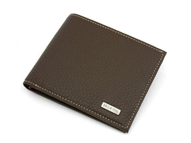 Superior(スペリオール) 二つ折り財布(小銭入れなし)  「ゴールドファイル」 GP24315 ダークブラウン 正面