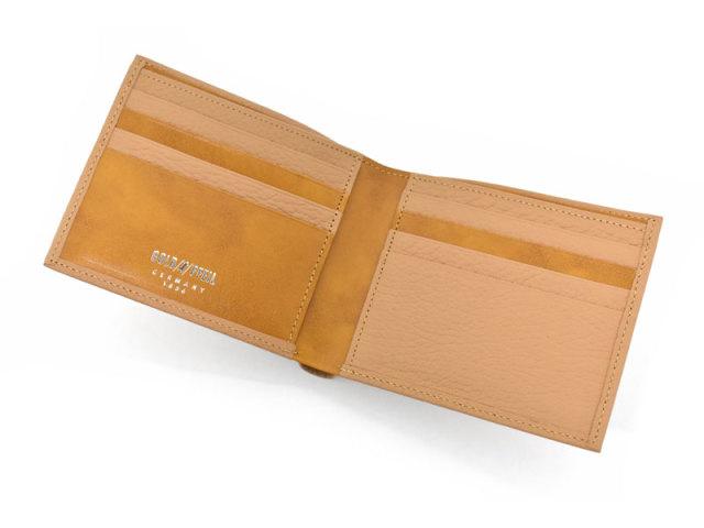 Superior(スペリオール) 二つ折り財布(小銭入れなし)  「ゴールドファイル」 GP24315 マロン 内作り