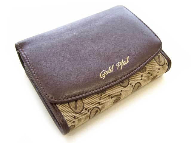 Coordinates2(コーディネート2) 二つ折り財布(小銭入れあり) 「ゴールドファイル」 GP52216 チョコ 正面