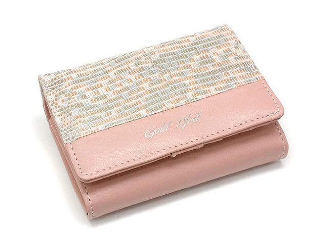 Pastel Lizard(パステルリザード) 二つ折り財布(小銭入れあり) 「ゴールドファイル」 GP53213 ピンク 正面