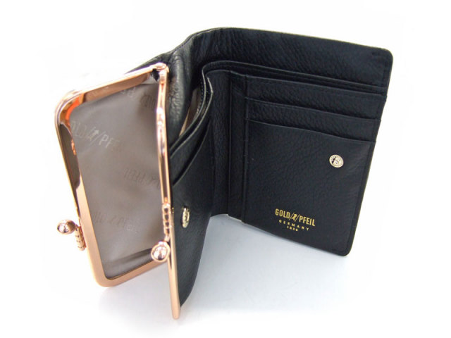 Natural(ナチュラル) 二つ折り財布(がま口小銭入れあり) 「ゴールドファイル」 GP54312 クロ 内作り