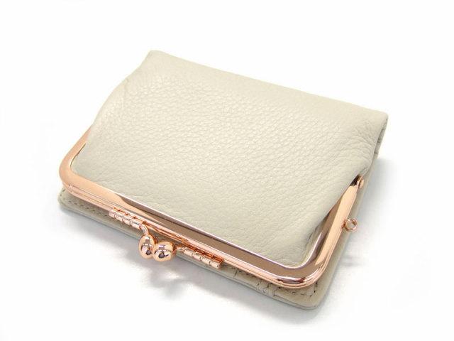 Natural(ナチュラル) 二つ折り財布(がま口小銭入れあり) 「ゴールドファイル」 GP54312 アイボリー 正面