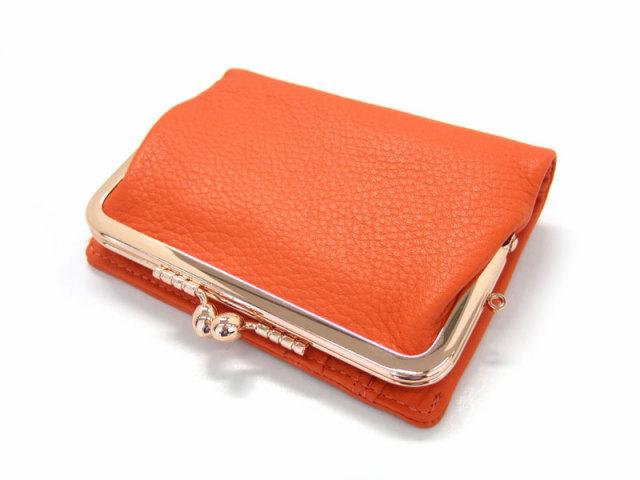 Natural(ナチュラル) 二つ折り財布(がま口小銭入れあり) 「ゴールドファイル」 GP54312 オレンジ 正面