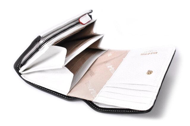 LINES(ラインズ) 二つ折り財布(小銭入れあり) 「ゴールドファイル」 GP57213 シロ 内作り