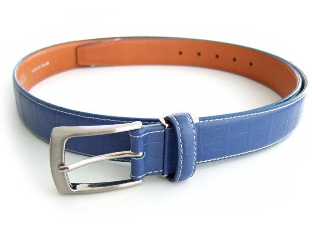 牛革 クロコエンボスカラーベルト 30mm幅 ピン式 「プレリーギンザ」 NB03560 ブルー 正面