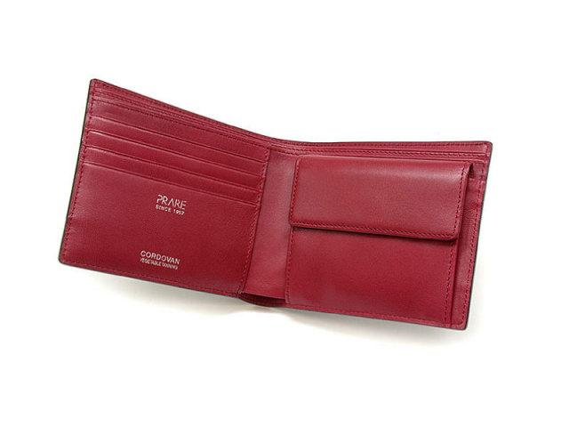 Cordovan Color(コードバンカラー) 二つ折り財布(小銭入れあり) 「プレリー1957」 NP01220 クロ/アカ 内作り