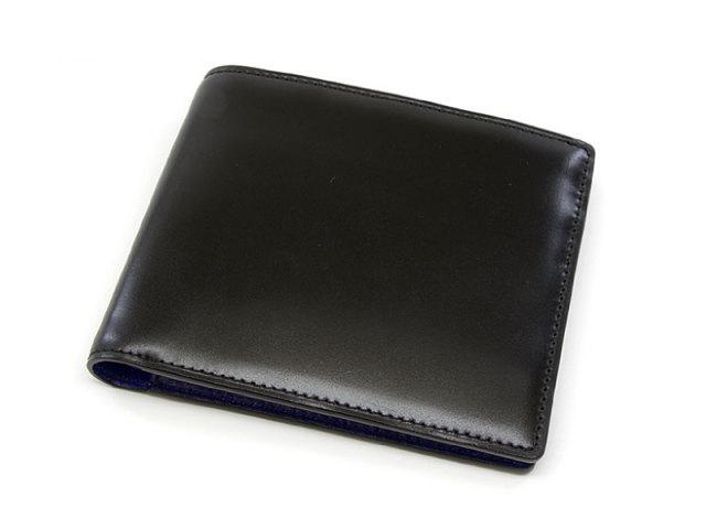 Cordovan Color (コードバンカラー) 二つ折り財布(小銭入れなし)  「プレリー1957」 NP01318 クロ/ブルー 正面