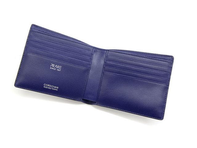 Cordovan Color (コードバンカラー) 二つ折り財布(小銭入れなし)  「プレリー1957」 NP01318 クロ/ブルー 内作り