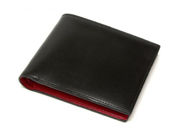 Cordovan Color (コードバンカラー) 二つ折り財布(小銭入れなし)  「プレリー1957」 NP01318 クロ/アカ 正面