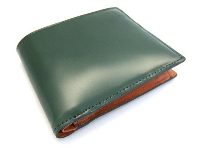 コードバン 二つ折り財布(小銭入れあり) 「プレリー1957」 NP07218 クロ 正面