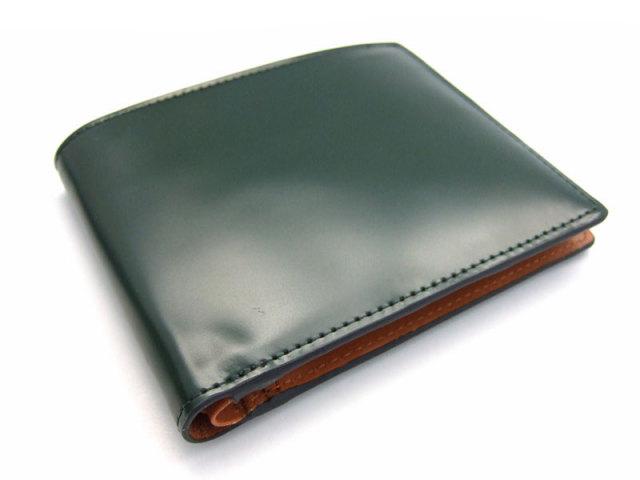 コードバン 二つ折り財布(小銭入れなし) 「プレリー1957」 NP07316 グリーン 正面