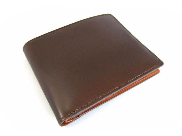 コードバン 二つ折り財布(小銭入れなし) 「プレリー1957」 NP07316 オリーブ 正面