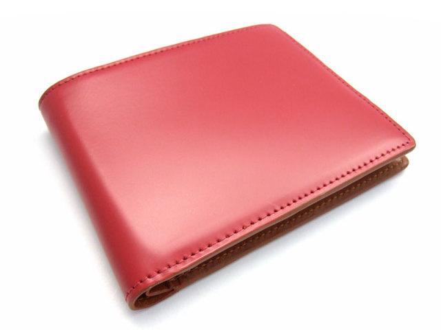 コードバン 二つ折り財布(小銭入れなし) 「プレリー1957」 NP07316 アカ 正面