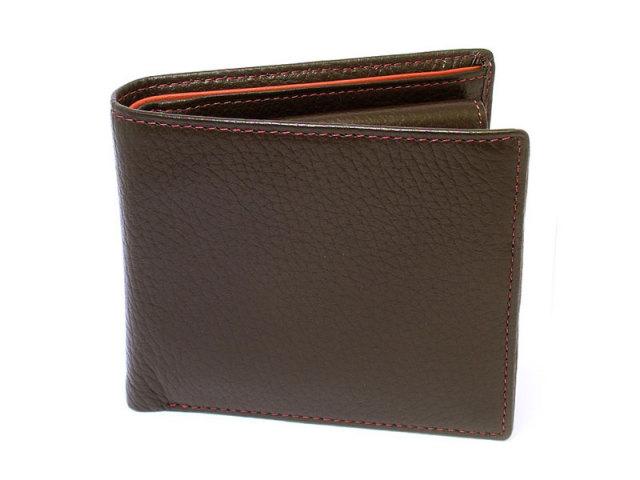 ItalianDeerskin (イタリアンディア) 二つ折り財布(小銭入れあり) 「プレリー1957」 NP17112 チョコ 正面