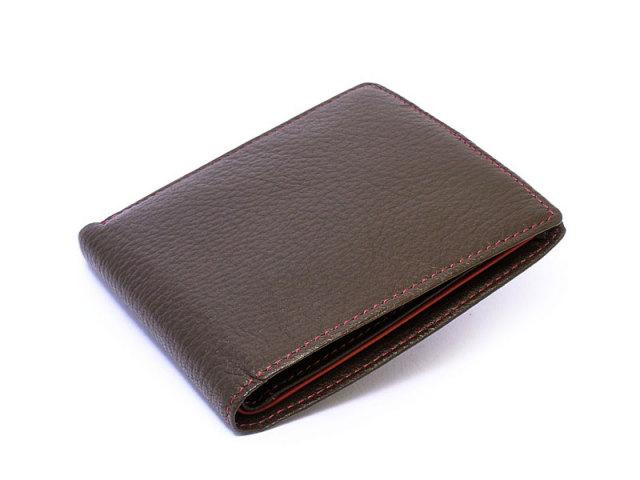 ItalianDeerskin (イタリアンディア) 二つ折り財布(小銭入れなし) 「プレリー1957」 NP17211 チョコ 正面