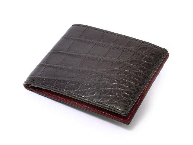 Crocodile (クロコダイル) 二つ折り財布(小銭入れなし) 「革巧」 NP31248 クロ 正面