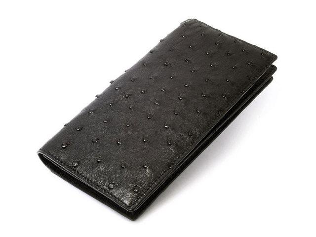 Ostrich (オーストリッチ)長財布(小銭入れなし) 「革巧」 NP32040 クロ 正面