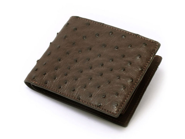 Ostrich (オーストリッチ)二つ折り財布(小銭入れあり) 「革巧」 NP32130 チョコ 正面