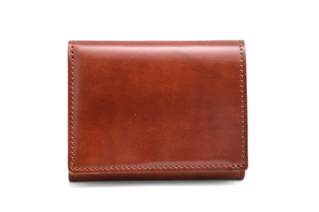 ナチュラルコードバン スマートコンパクト 三つ折り財布(小銭入れあり) 「プレリーギンザ」 NP47122 チョコ 正面