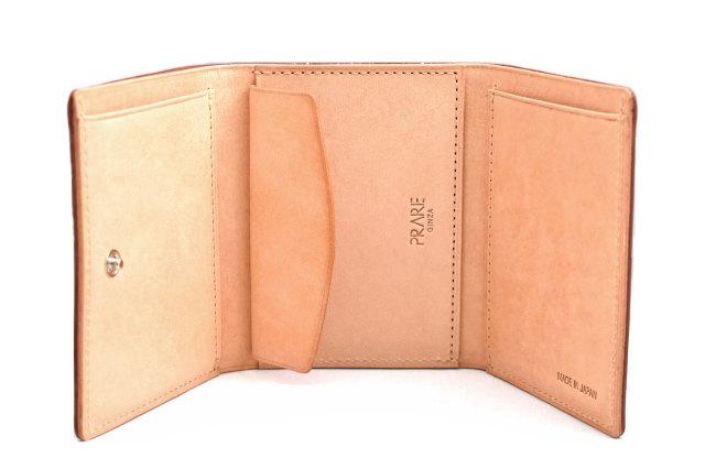 ナチュラルコードバン スマートコンパクト 三つ折り財布(小銭入れあり) 「プレリーギンザ」 NP47122 チョコ 内作り