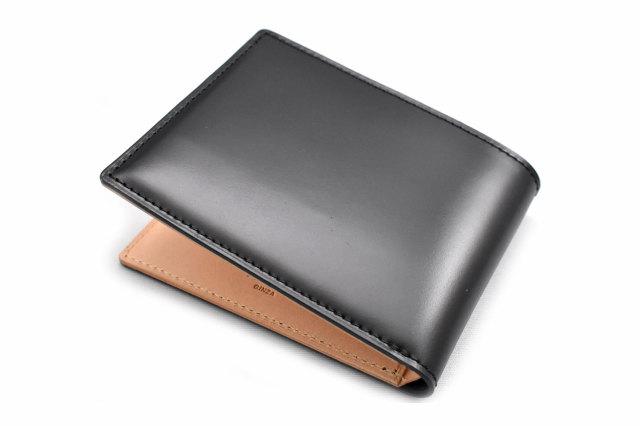 ナチュラルコードバン スマートコンパクト 二つ折り財布(小銭入れなし) 「プレリーギンザ」 NP47222 クロ 裏面