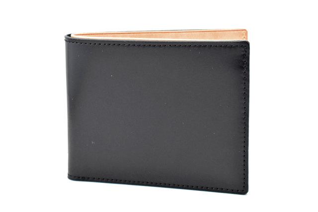 ナチュラルコードバン スマートコンパクト 二つ折り財布(小銭入れなし) 「プレリーギンザ」 NP47222 クロ 正面