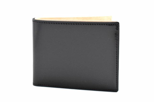 ナチュラルコードバン スマートコンパクト 二つ折り財布(小銭入れあり) 「プレリーギンザ」 NP47724 クロ 正面