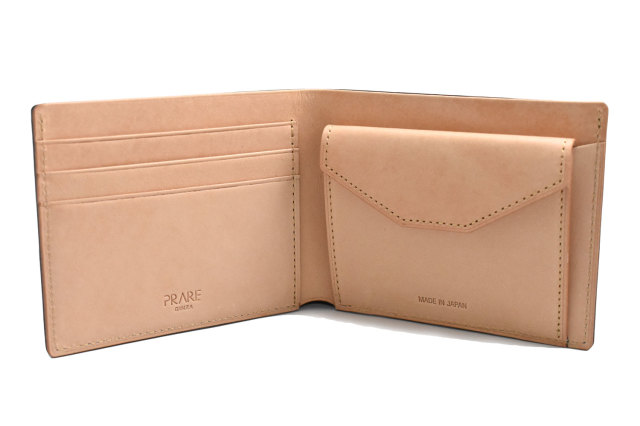 ナチュラルコードバン スマートコンパクト 二つ折り財布(小銭入れあり) 「プレリーギンザ」 NP47724 クロ 内作り