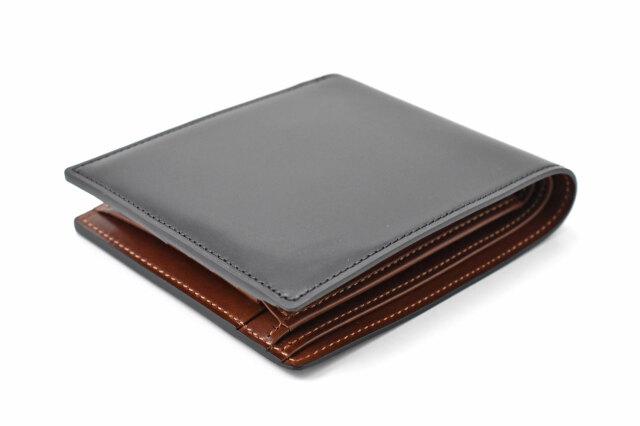 Natural Cordovan(ナチュラルコードバン)  二つ折り財布(小銭入れあり) 「プレリーギンザ」 NP48130 クロ 正面