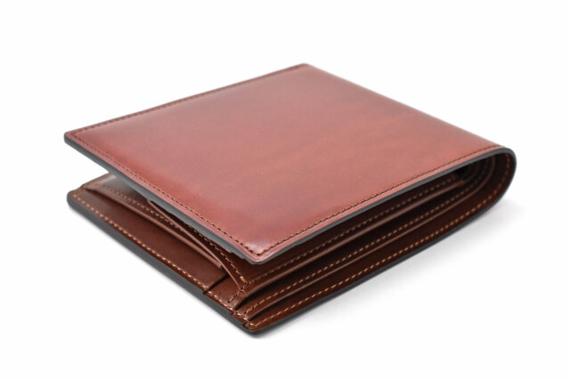 Natural Cordovan(ナチュラルコードバン)  二つ折り財布(小銭入れあり) 「プレリーギンザ」 NP48130 チョコ 正面