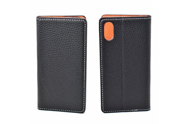 牛革手帳型iPhoneケース(アイフォンケース) X/XS用 「プレリーギンザ」 NP52512 ブラック 表裏