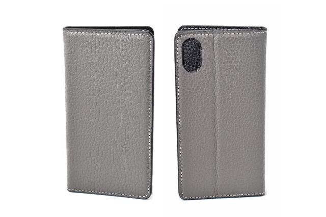 牛革手帳型iPhoneケース(アイフォンケース) X/XS用 「プレリーギンザ」 NP52512 グレー 表裏