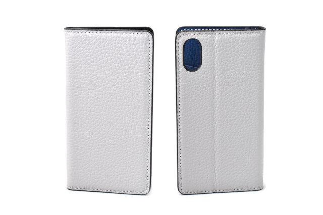 牛革手帳型iPhoneケース(アイフォンケース) X/XS用 「プレリーギンザ」 NP52512 ライトグレー 表裏