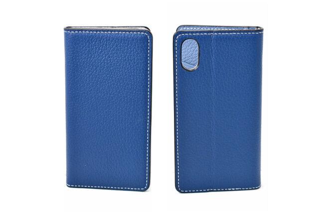 牛革手帳型iPhoneケース(アイフォンケース) X/XS用 「プレリーギンザ」 NP52512 ネイビー 表裏