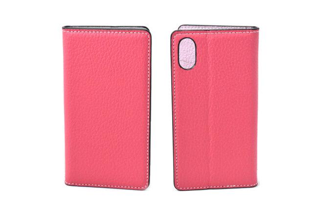 牛革手帳型iPhoneケース(アイフォンケース) X/XS用 「プレリーギンザ」 NP52512 ピンク 表裏