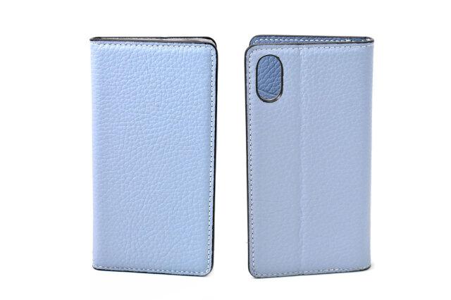 牛革手帳型iPhoneケース(アイフォンケース) X/XS用 「プレリーギンザ」 NP52512 サックス 表裏