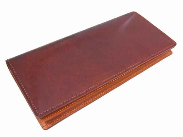 NP53033 コードバン ナチュラルグレージング 長財布  「プレリーギンザ」 チョコ 正面