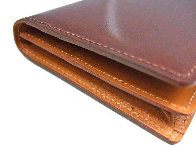 NP53033 コードバン ナチュラルグレージング 長財布  「プレリーギンザ」 チョコ 側面