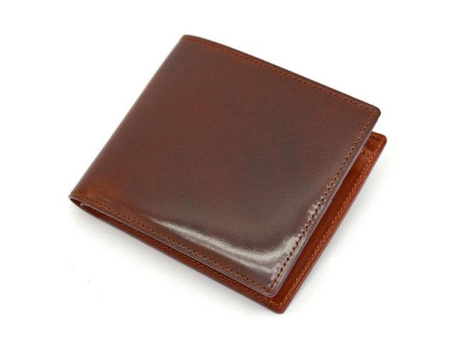NP53130 コードバン ナチュラルグレージング 二つ折り財布(小銭入れあり)  「プレリーギンザ」 チョコ 正面