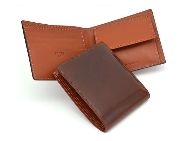 NP53130 コードバン ナチュラルグレージング 二つ折り財布(小銭入れあり)  「プレリーギンザ」 チョコ 特徴